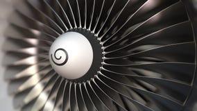 Van de motorbladen van de turbojetturbine de omwentelingsclose-up, realistische loopable 3D animatie stock footage