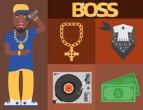 Van de musicus vectortoebehoren van de hiphopmens bijkomende van de microfoonbreakdance van de de tik moderne jonge manier expres stock illustratie