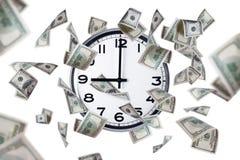 Van de muurklok en Dollar Bankbiljetten Royalty-vrije Stock Foto's