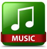 Van de muziek (wijsjepictogram) het groene vierkante knoop rode lint in midden Stock Afbeeldingen