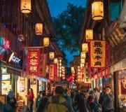 Van de de nachtscène van de Jinli oude stad de straatmening in Chengdu Royalty-vrije Stock Foto's