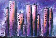 Van de nachtstad/Stad het Acryl Schilderen stock illustratie