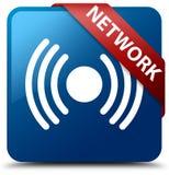 Van de netwerk (signaalpictogram) het blauwe vierkante knoop rode lint in hoek Stock Foto