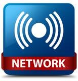 Van de netwerk (signaalpictogram) het blauwe vierkante knoop rode lint in midden Royalty-vrije Stock Fotografie