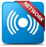 Van de netwerk (signaalpictogram) het cyaan blauwe vierkante knoop rode lint in graan Royalty-vrije Stock Afbeeldingen