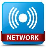 Van de netwerk (signaalpictogram) het cyaan blauwe vierkante knoop rode lint in midd Royalty-vrije Stock Foto's