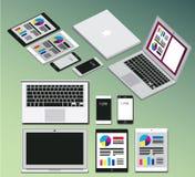 Van de notitieboekjetablet en telefoon geplaatste multimedia Stock Foto's