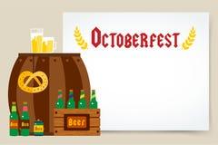 Van de Oktoberfestviering vectoraffiche als achtergrond Stock Afbeelding