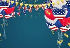 4 van de de Onafhankelijkheidsdag van Juli de V.S. de ballons vector driehoekige vlaggen r vector illustratie