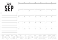 Van de de ontwerperskalender van september 2018 de vectorillustratie Stock Afbeeldingen
