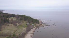 Van de de Oostzeekust van Rojaletland video van de de hommel hoogste mening 4K UHD de Lucht stock videobeelden
