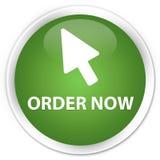 Van de orde nu (curseurpictogram) premie de zachte groene ronde knoop Stock Foto's