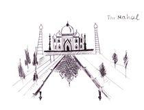 Van de oriëntatiepuntenindia van de illustratieschets de Sjahpaleis Taj Mahal- stock illustratie