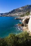 Van de overzeese de gang panoramakust van Roquebrune aan Monaco Stock Fotografie