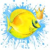 Van de overzeese de grafiek vissent-shirt overzeese vissenillustratie met de geweven achtergrond van de plonswaterverf het ongebr Stock Afbeelding
