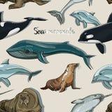 Van de overzeese de pictogrammenpatroon zoogdieren dierlijk inzameling stock illustratie