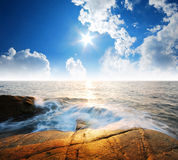 Van de overzeese van de het strand het blauwe hemel zandzon gezichtspunt van de het landschapsaard van Thailand Royalty-vrije Stock Afbeeldingen