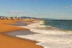Van de overzeese van de het zandzon strand blauw hemel van de het daglichtontspanning het landschapsgezichtspunt voor ontwerppren Stock Afbeeldingen