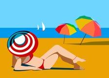 Van de overzeese van de strandzomer de bikini mensenzon royalty-vrije illustratie