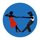 Van de paarman en vrouw het dansen, de uitstekende dans, de zwarte silhouetten en de kleur kleden zich omhoog Royalty-vrije Stock Afbeelding