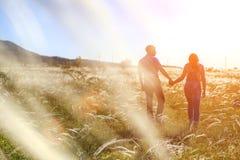 Van de paarman en vrouw verhouding in aard in de het plaatsen zon royalty-vrije stock foto