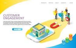 Van de de paginawebsite van de klantenovereenkomst het landende vectormalplaatje vector illustratie