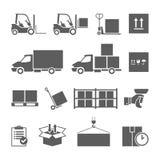 Van de pakhuisvervoer en levering geplaatste pictogrammen Stock Foto's