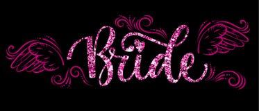 Van de de Partij roze fonkeling van de bruidploeg de kalligrafietekst - Bruid met krommen en vleugelsdecor royalty-vrije illustratie