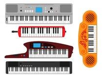 Van de de pianomelodie van toetsenbord muzikaal instrumenten vector klassiek van de de studio akoestisch glanzend musicus het mat royalty-vrije illustratie