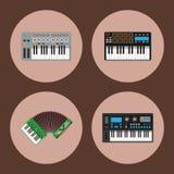 Van de de pianomelodie van toetsenbord muzikaal instrumenten vector klassiek van de de studio akoestisch glanzend musicus het mat stock illustratie