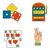 Van de de pictogrammenpook van het casinospel van de gokkerssymbolen van de het blackjack de winnende roulette illustratie van de Royalty-vrije Stock Foto's