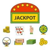 Van de de pictogrammenpook van het casinospel van de gokkerssymbolen van de het blackjack de winnende roulette illustratie van de Royalty-vrije Stock Afbeelding