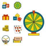 Van de de pictogrammenpook van het casinospel van de gokkerssymbolen van de het blackjack de winnende roulette illustratie van de Royalty-vrije Stock Fotografie