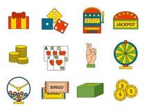 Van de de pictogrammenpook van het casinospel van de gokkerssymbolen van de het blackjack de winnende roulette illustratie van de Royalty-vrije Stock Afbeeldingen