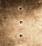 Van de plaatklinknagels van het Grunge gouden bruine metaal de schroeventextuur als achtergrond Stock Afbeeldingen