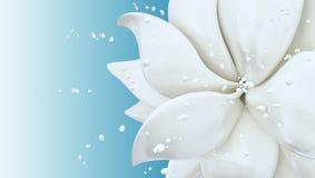Van de plonsmelk en bloem het abstracte 3d teruggeven als achtergrond Royalty-vrije Stock Afbeeldingen