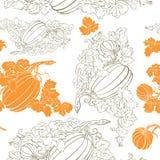 Van de pompoen naadloos patroon Als achtergrond Royalty-vrije Stock Afbeeldingen