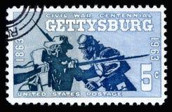 Van de de Postzegel Burgeroorlog van de V.S. de Honderdjarige Slag van Gettysburg 1863-1963 Stock Fotografie