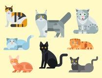 Van de potkarakters van de katten vectorillustratie leuk dierlijk grappig decoratief katachtig binnenlands getrokken het katjes i stock illustratie
