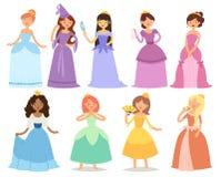 Van de prinseskarakters van het beeldverhaalmeisje kleden de verschillende het sprookjekleren leuke adorble meisjes vectorillustr Stock Afbeeldingen
