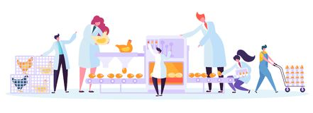Van de de Productiefabriek van het kippengevogelte de Machinereeks Commercieel Karakter die de Verpakkingsproces maken van Eimach stock illustratie