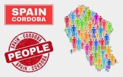 Van de de Provinciekaart van Cordoba Spaanse de Bevolkingsmensen en Vuile Verbinding royalty-vrije illustratie