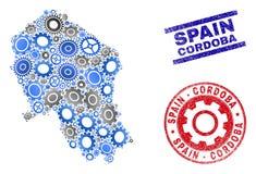 Van de Provinciekaart en Grunge van Cordoba van het workshopmozaïek Vector Spaanse Zegels royalty-vrije illustratie
