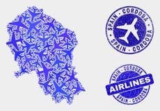 Van de Provinciekaart en Grunge van Cordoba van de luchtvaartlijnensamenstelling Vector Spaanse Verbindingen vector illustratie