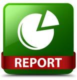 Van de rapport (grafiekpictogram) het groene vierkante knoop rode lint in midden Stock Foto's