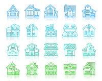 Van de rassenbarrièrepictogrammen van het huisplattelandshuisje de eenvoudige vectorreeks royalty-vrije illustratie