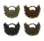 Van de reeks lange krullende baard en snor verschillende kleuren Stock Foto's
