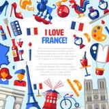 Van de reispictogrammen van Frankrijk de cirkelprentbriefkaar met beroemde Franse symbolen Royalty-vrije Stock Foto's