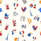 Van de reispictogrammen van Frankrijk het naadloze patroon met beroemde Franse symbolen Royalty-vrije Stock Foto's