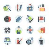 Van de reparatiedelen van de autodienst vector de pictogrammenvoertuig en automobiel materiaal vector illustratie